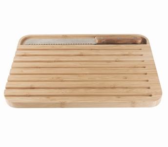 Bamboo broodplank met broodmes - Pebbly