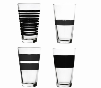 Stripe zwart drinkglazen hoog set/4 - Salt&Pepper