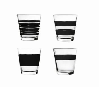 Stripe zwart drinkglazen laag set/4 - Salt&Pepper