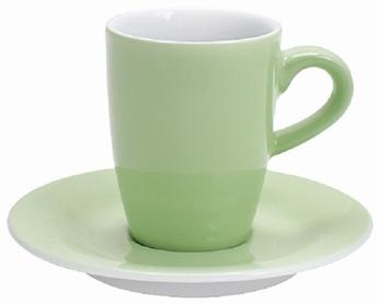 2x espressotas 0,10L en ondertas -Pronto Kahla -pastelgroen