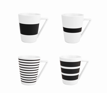 Stripes set van 4 bekers zwart-Salt&Pepper