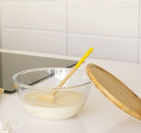 bewaar- en ovenschaal glas met deksel bamboe - Pebbly