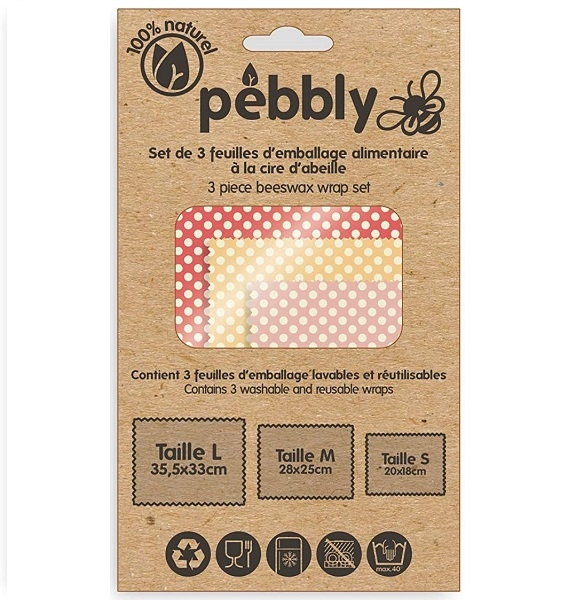Bijenwas vershouddoekjes set/3 - Pebbly
