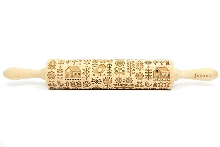rouleau à pâtisserie bois décoratif - 43 cm