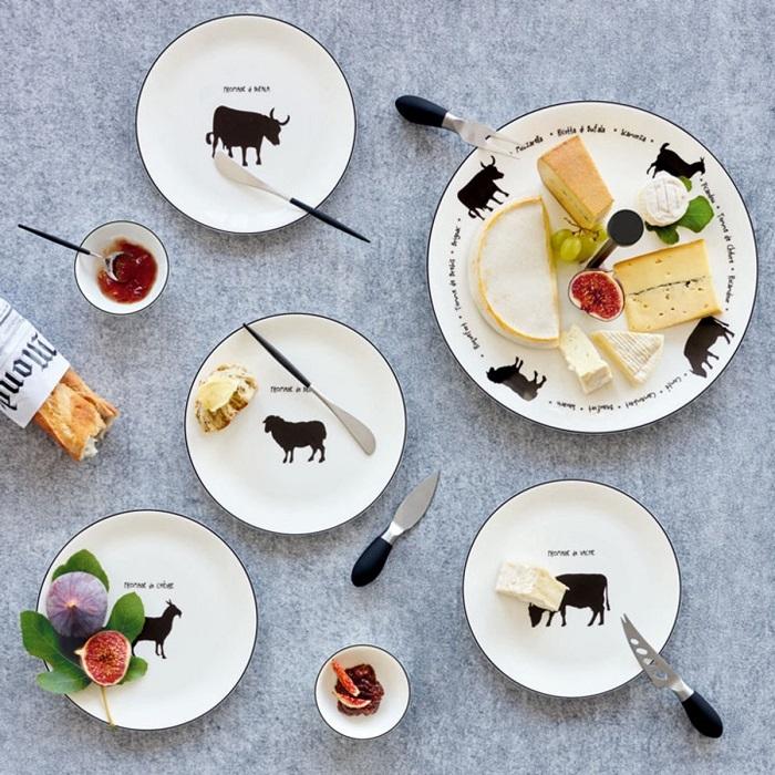 assiettes à fromage set(2) chèvre-ASA
